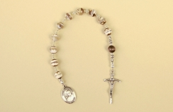 Tibetan Agate-Sterling Silver Pocket Rosary